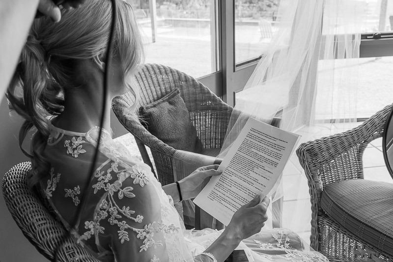 Bride rehearsing speech