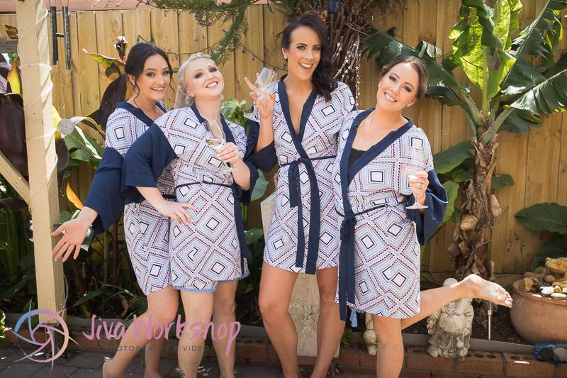 The bridesmaids laugh