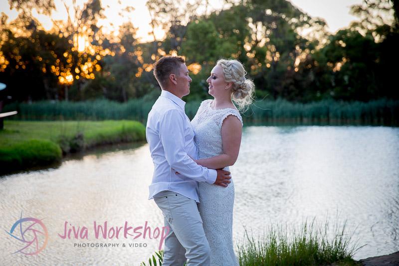 Sunset wedding Couple lake
