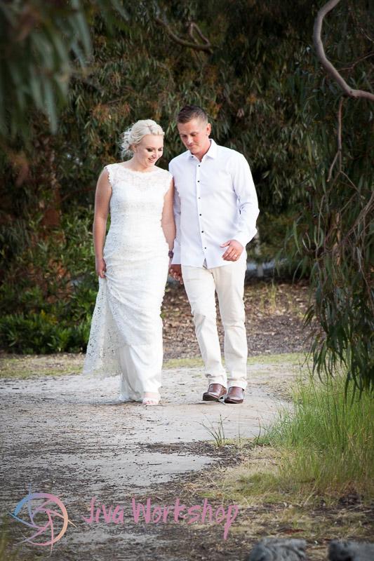 Strolling wedding couple